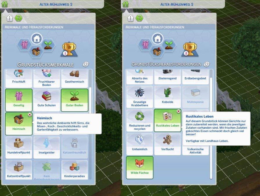 Sims 4 Landhaus-Leben Guide Übersicht der Grundstücksmerkmale und Grundstücksherausforderungen