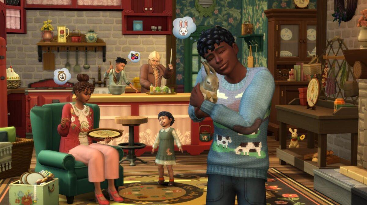 Sims 4 Landhaus-Leben Guide Sim kuschelt mit Hase, Sim in Hintergrund nutzt Stickrahmen