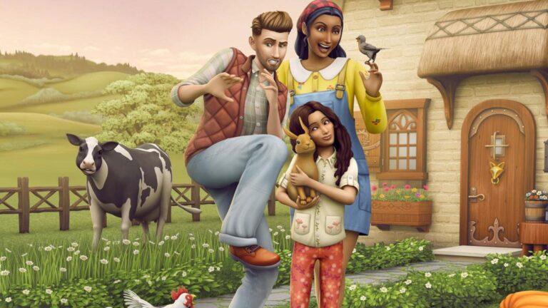 Sims 4 Landhaus-Leben Guide Sim-Ehepaar mit Kind, das Hasen im Arm hält vor einem Cottage