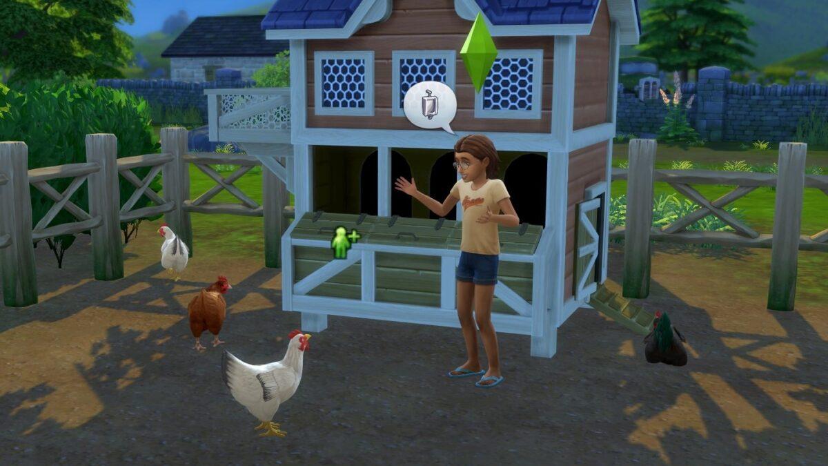 Sims 4 Landhaus-Leben Guide Sim-Kind spricht vor Hühnerstall mit weißer Henne