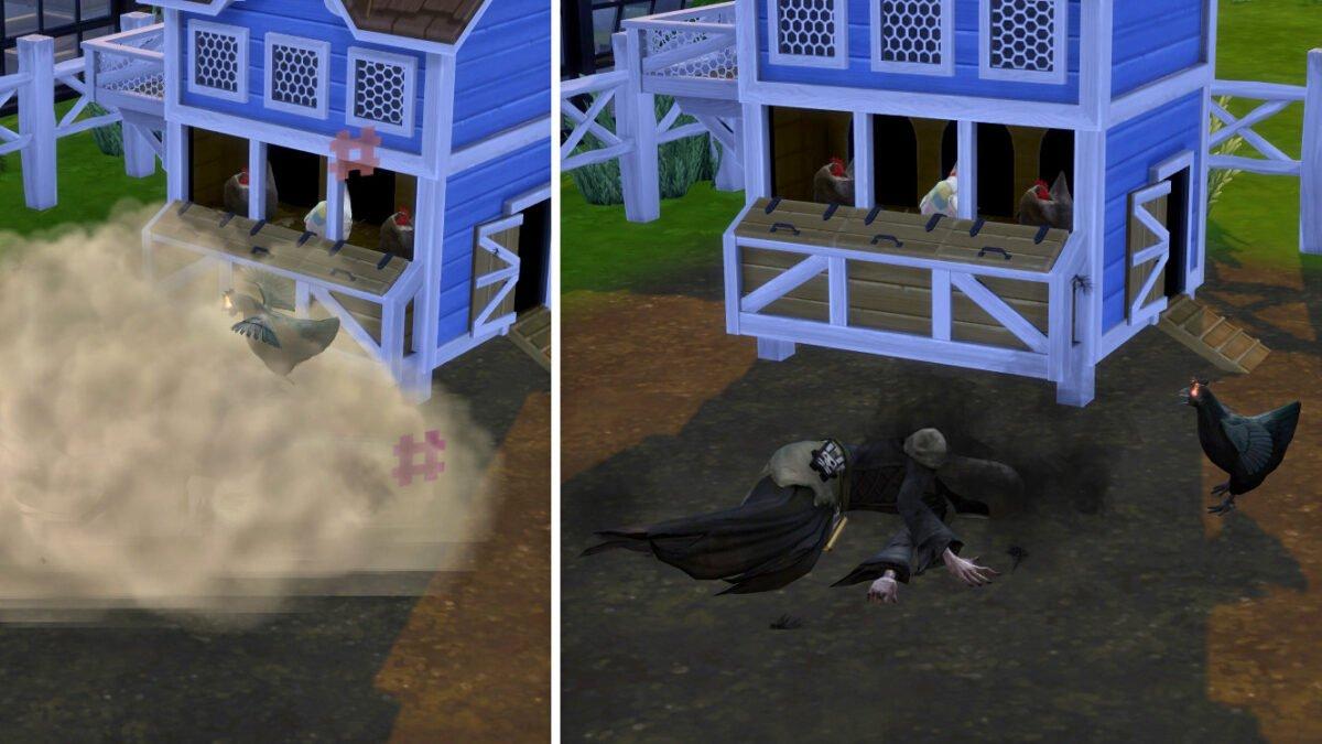 Sims 4 Landhaus-Leben Guide Schwarzes Huhn mit leuchtenden Augen vermöbelt den Sensenmann