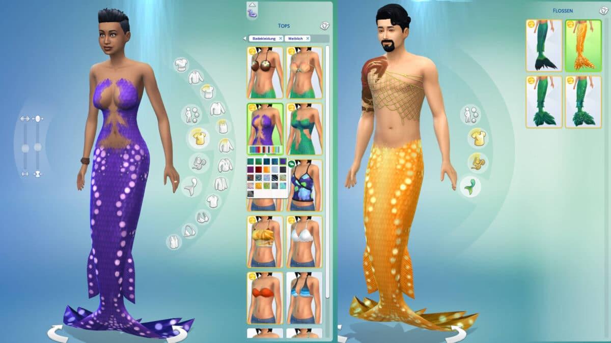 Eine männliche und eine weibliche Meerjungfrau im Create-A-Sim-Modus.
