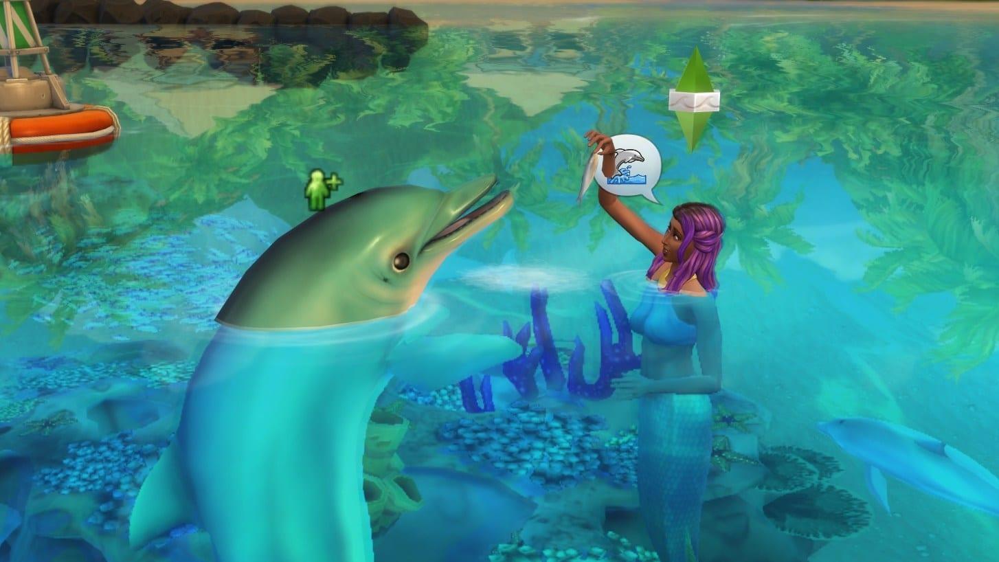 Meerjungfrau in Sims 4 füttert Delfin