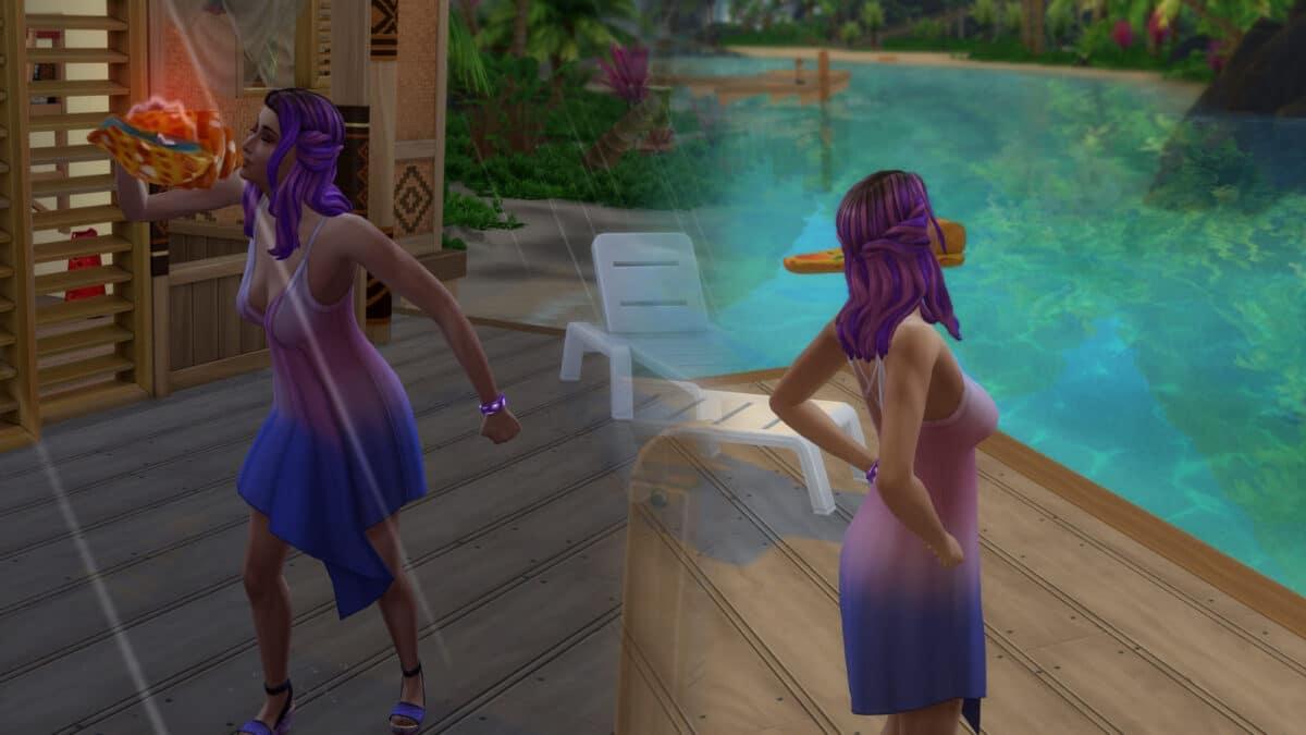Mit einer Muschel und einem Zauber verändert eine Sims 4 Meerjungfrau das Wetter von Regen zu Sonnenschein.