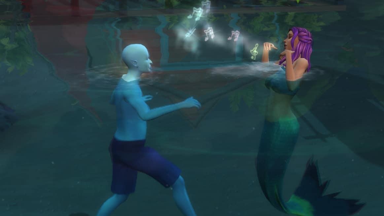 Eine Sims 4 Meerjungfrau bezirzt durch ein Lied einen vor ihr schwimmenden Alien-Sim.