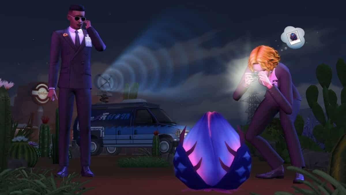 Zwei Sim-Agenten untersuchen eine Alien-Pflanze