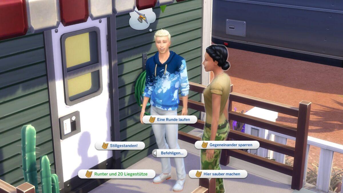 Zwei Sims im Gespräch mit verschiedenen Militär-Gesprächsoptionen