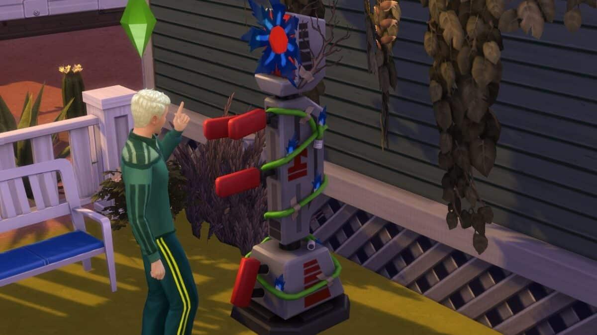 Sim-Offizier übt an einem Roboter das Erteilen von Befehlen