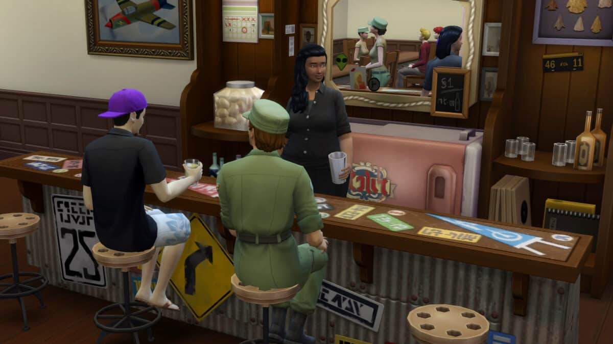 Sim-Soldaten und Zivilisten beim Feierabend in einer Bar.