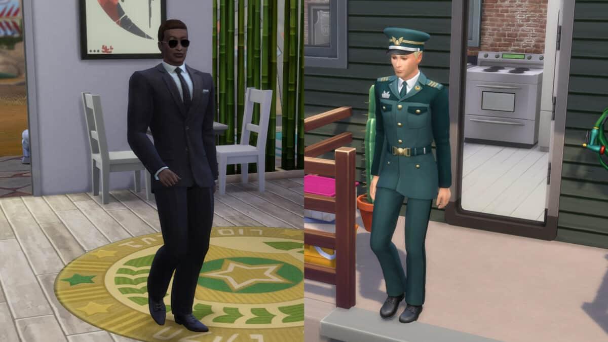 Zwei Sims aus dem Sims 4 Militär in ihrer Berufskleidung.