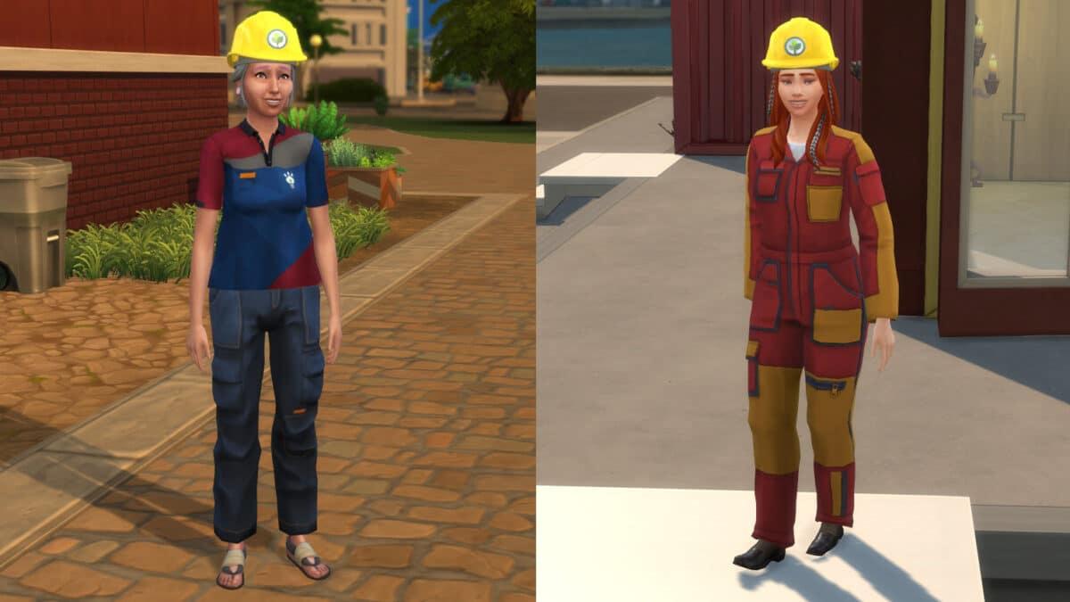 Zwei Simfrauen in der Berufskleidung der zwei Bauplanungsingenieur-Karrierezweige