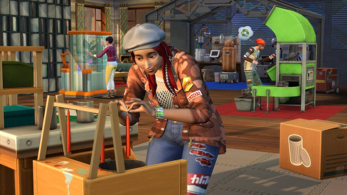Sim zieht im Vordergrund Kerze, Sim im Hintergrund nutzt Recycler