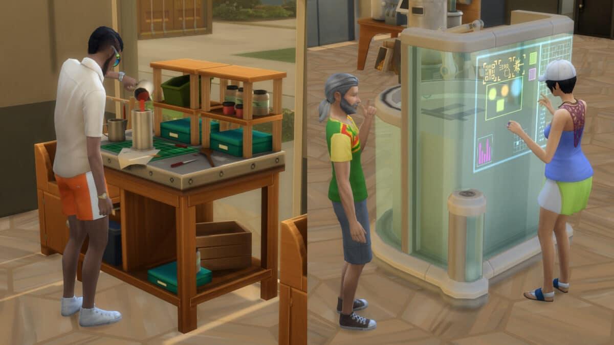 Sim stellt links Kerze her, rechts am Fabrikator Einrichtung