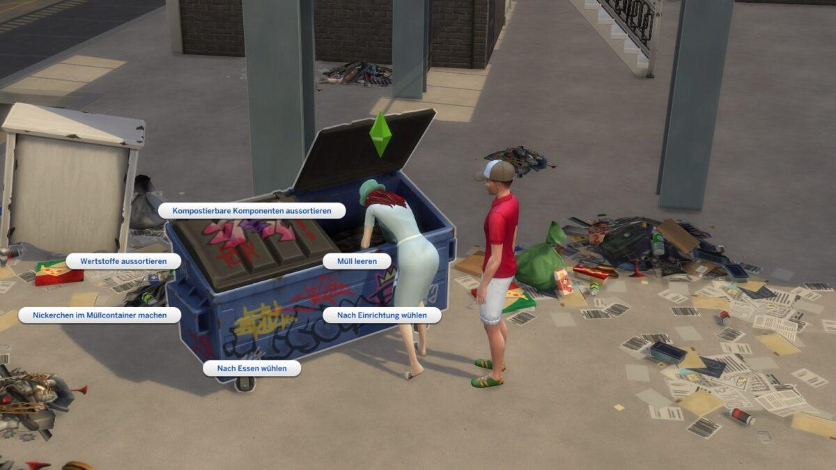Simfrau wühlt in Müllcontainer