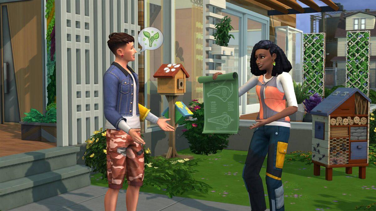 Sim zeigt anderem Sim umweltfreundlichen Bauplan