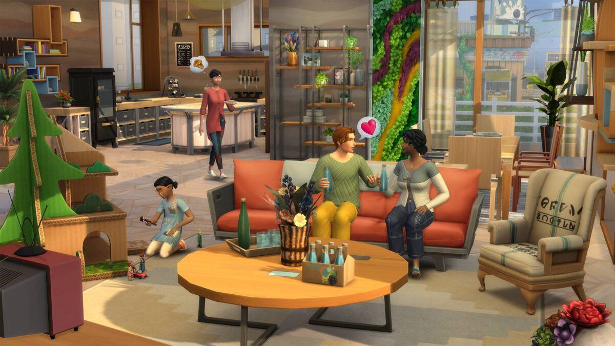 Simfamilie in Wohnzimmer mit recycelten Möbeln