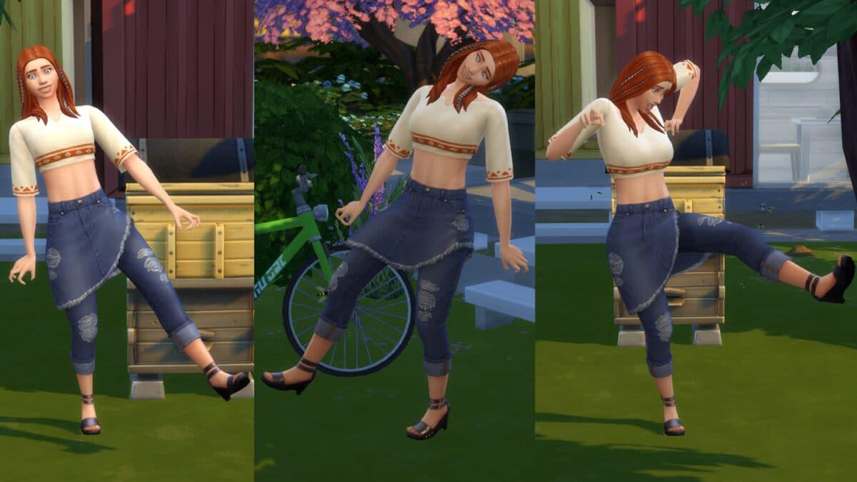 Simfrau läuft schief und krumm in Garten