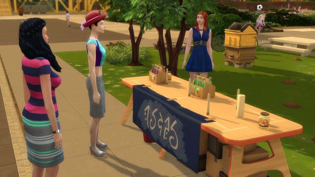 Simfrau verkauft an Tisch Waren an Nachbarn