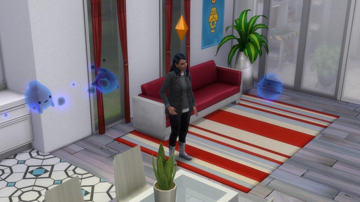 Sims 4 Paranormale Phänomene Sim-Frau spricht in Wohnzimmer mit mehreren blauen Geistern