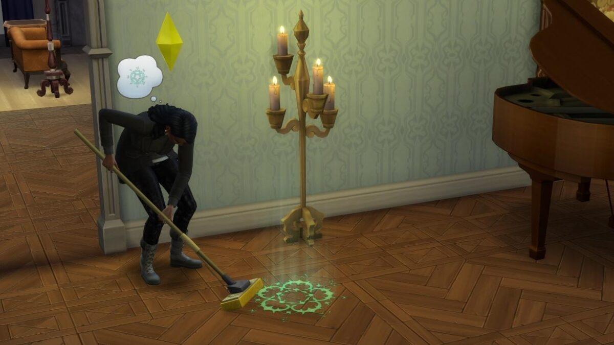 Sims 4 Paranormale Phänomene Sim-Frau wischt mit Schrubber okkultes Symbol weg