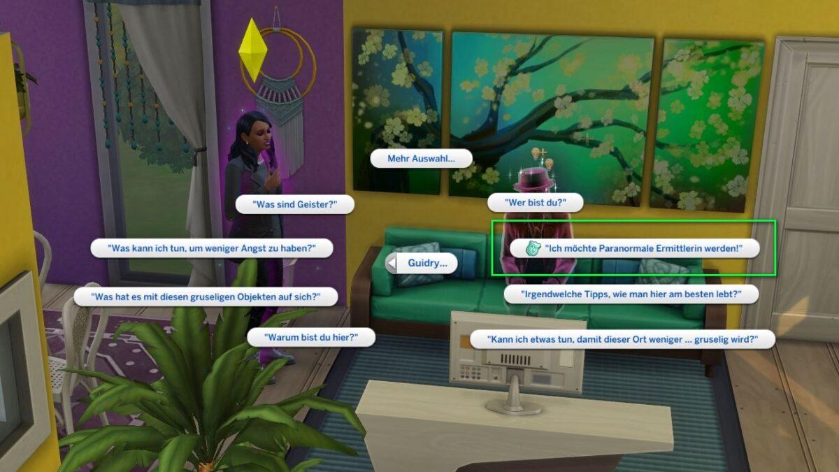 Sims 4 Paranormale Phänomene Frage an Geist Guidry nach Ermittler-Lizenz in Auswahlmenü