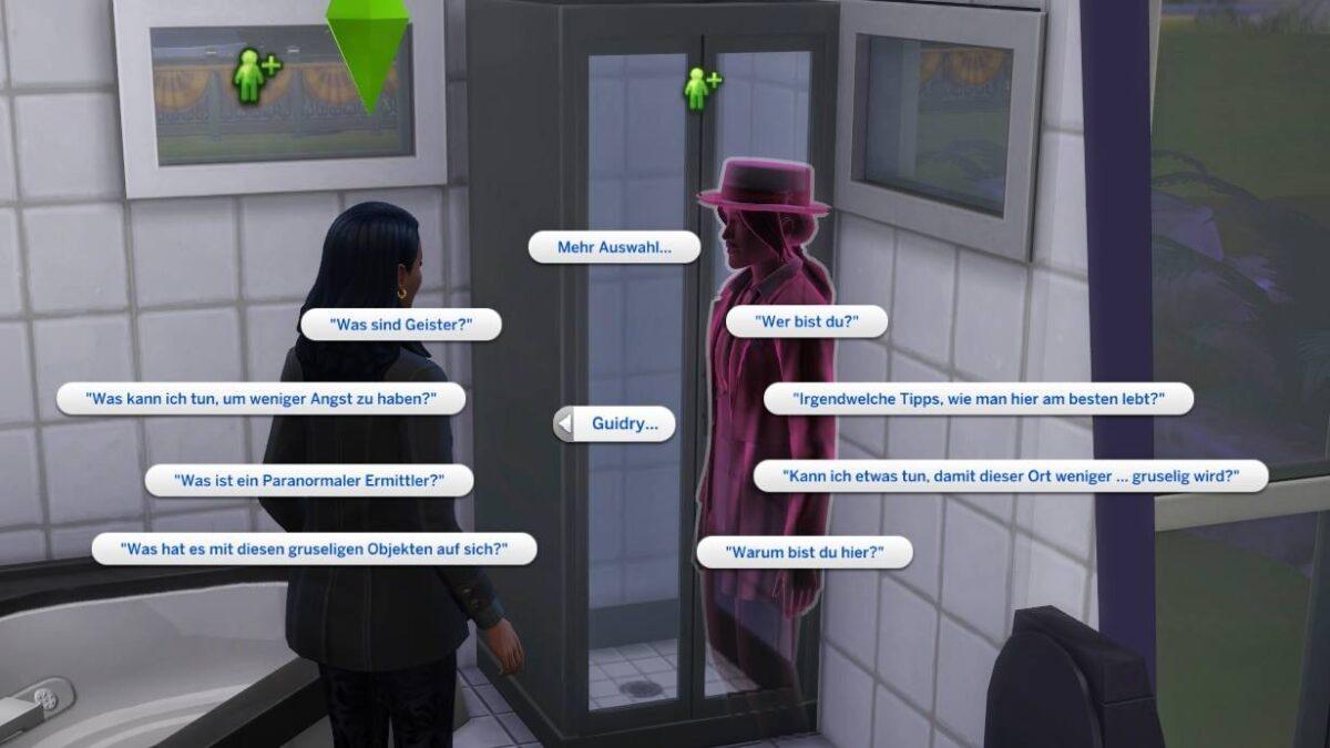 Sims 4 Paranormale Phänomene Menüauswahl möglicher Fragen von Sims an den pink gefärbten Geist Guidry in Badezimmer