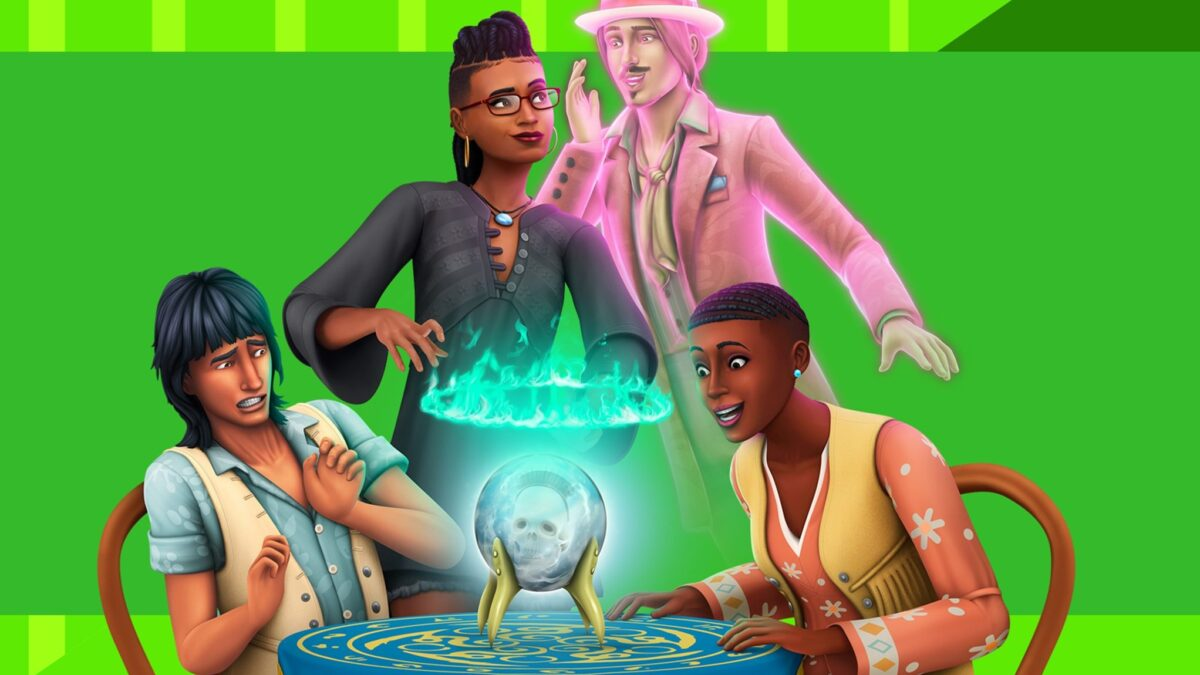 Sims 4 Paranormale Phänomene-Guide Drei Sims und ein Sim-Geist bei einem Séance-Tisch