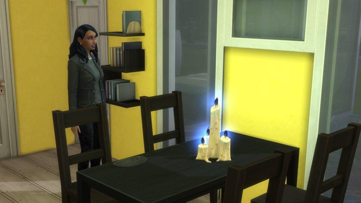 Sims 4 Paranormale Phänomene Sim-Frau vor Tisch mit hellblau brennenden weißen Kerzen darauf