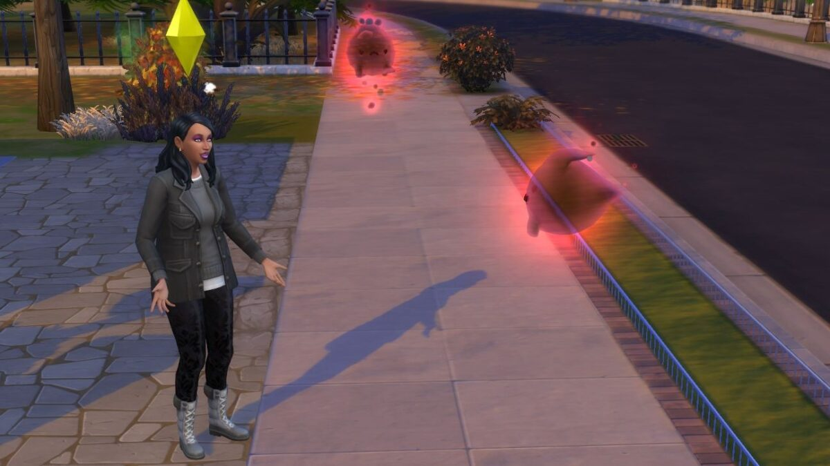 Sims 4 Paranormale Phänomene Sim-Frau spricht auf Straße mit roten Geistern