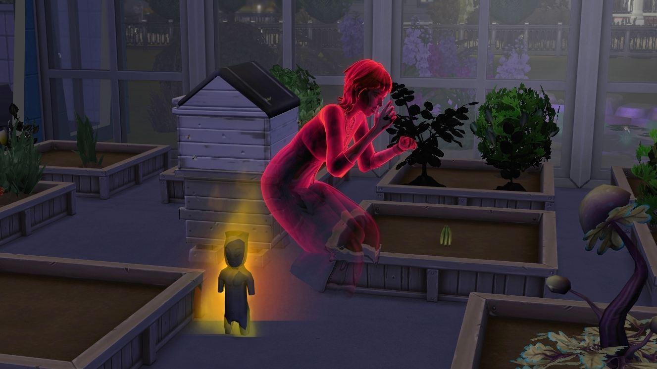 Sims 4 Paranormale Phänomene rot leuchtender Geist vor brennender Götzenstatuette auf dem Boden