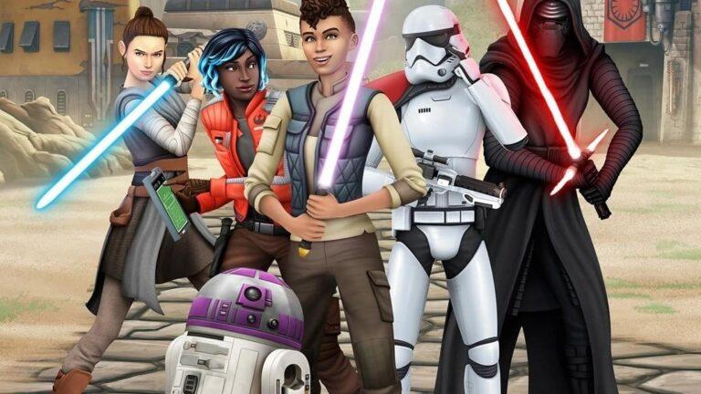 Sim-Gruppe mit Rey, Kylo Ren und Vi Morandi in Sims 4 Reise nach Batuu