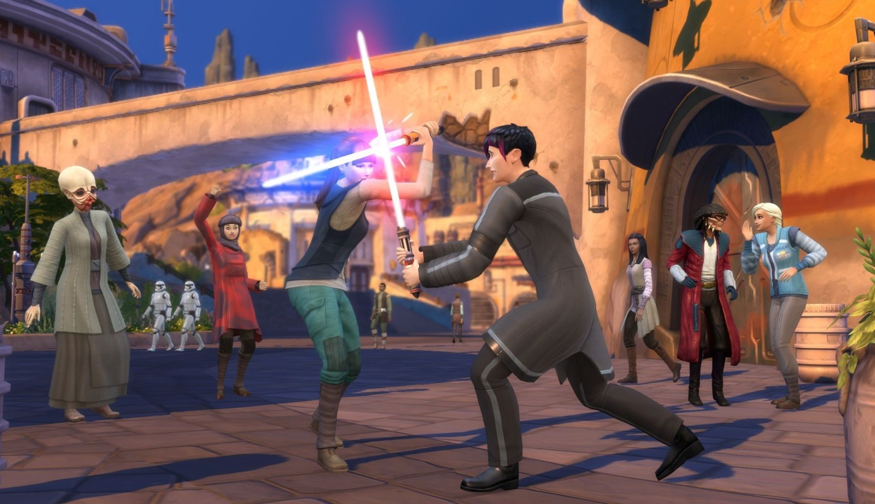 Sims 4 Reise nach Batuu Sims beim Lichtschwertkampf auf Batuu
