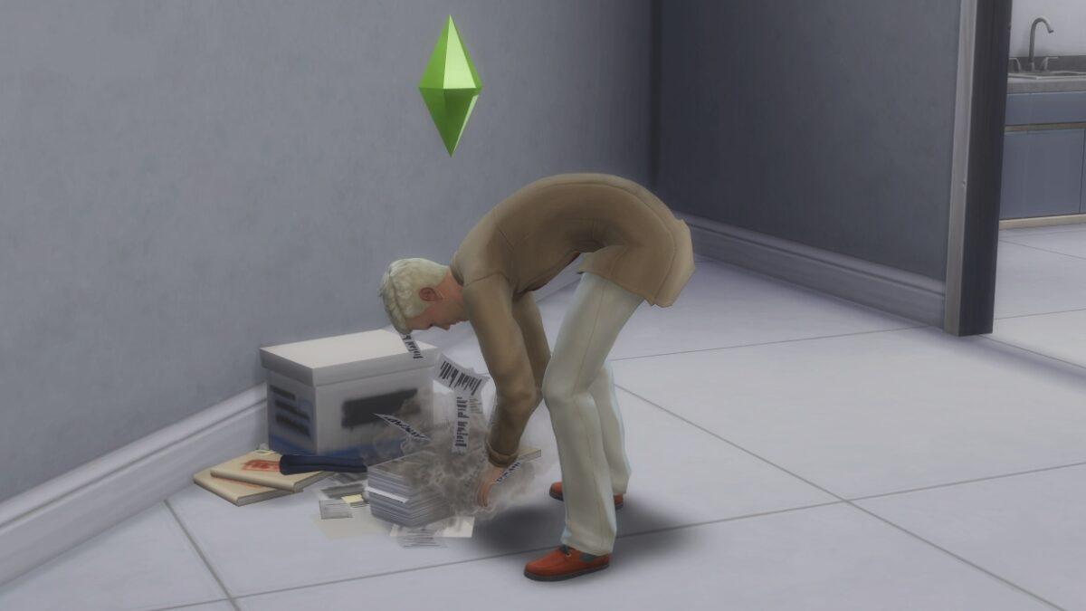 Sims 4 StrangerVille Sim durchsucht vornübergebeugt neben Aktenkiste liegende Papiere