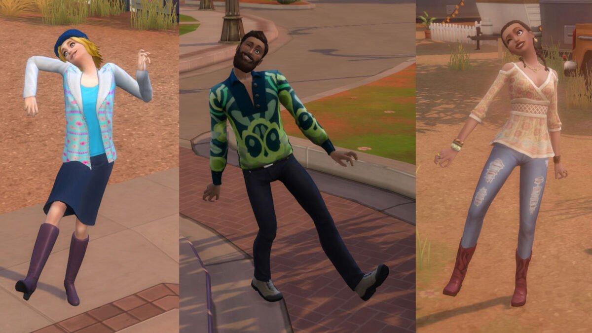 Sims 4 StrangerVille Drei Sims in unterschiedlicher Aufmachung mit schiefem Gang und irrem Gesichtsausdruck