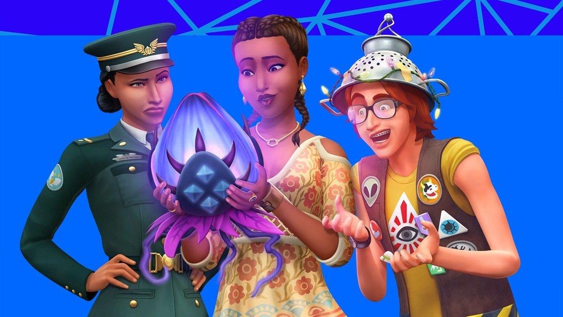 Sims 4 StrangerVille drei Sims betrachten seltsame lila Frucht