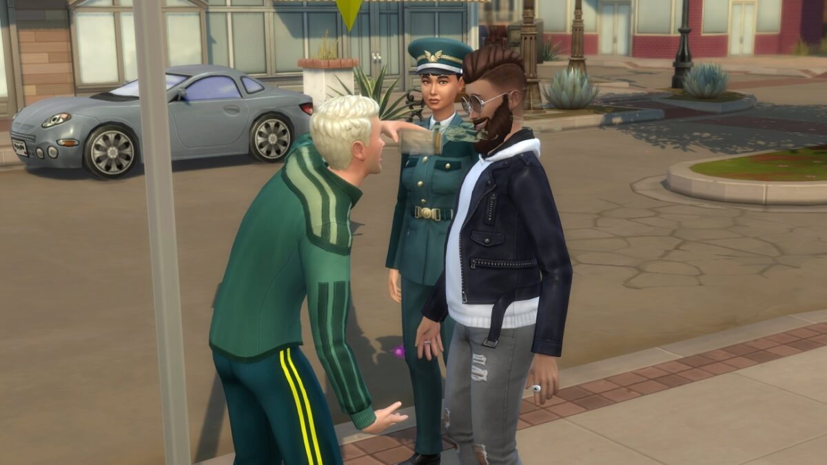 Sims 4 StrangerVille Sim schüttet anderem Flüssigkeit ins Gesicht