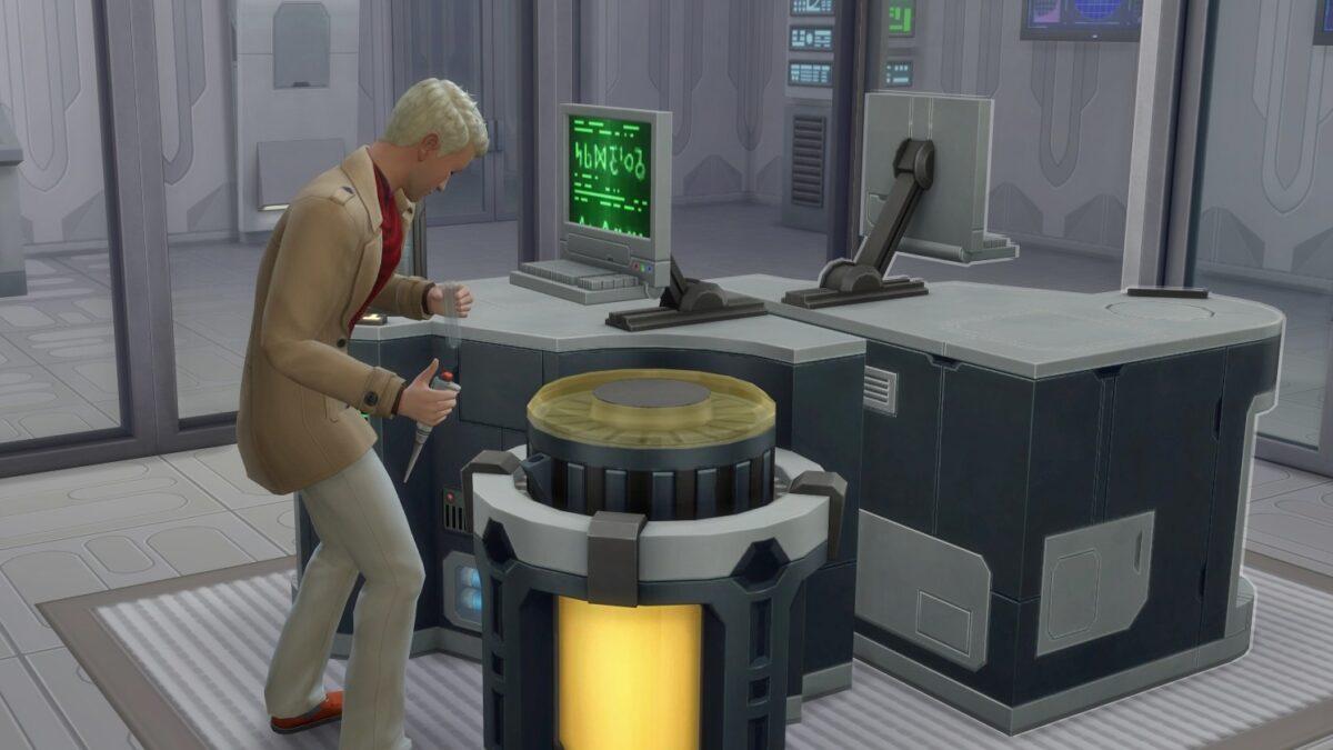 Sims 4 StrangerVille Sim steht vor Laborausrüstung und hält Pipette und Reagenzglas in der Hand