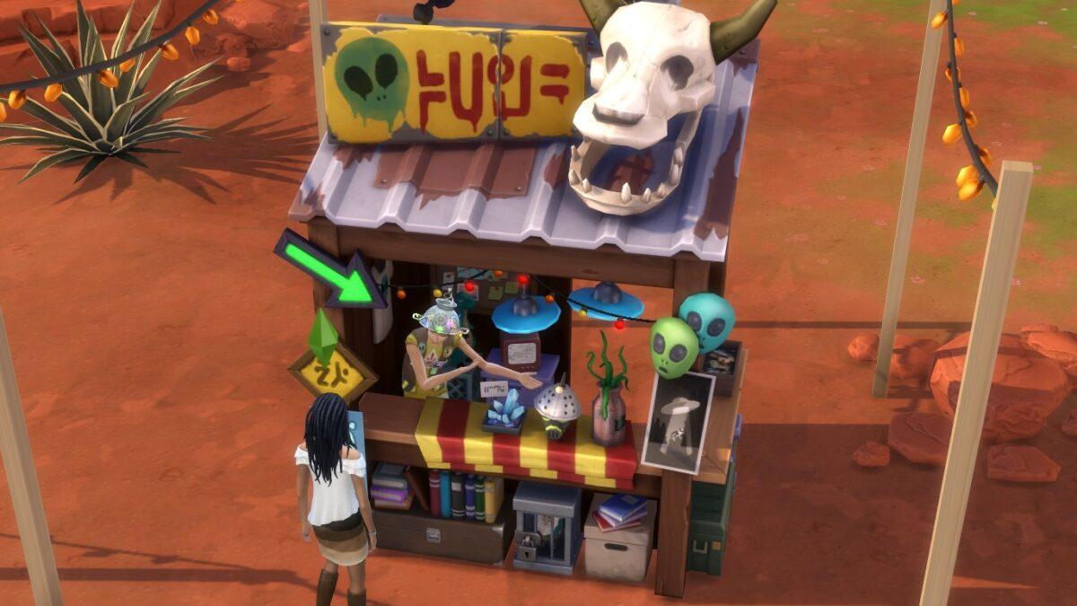 Sims 4 StrangerVille Simfrau kauft bei Kuriositätenladen ein