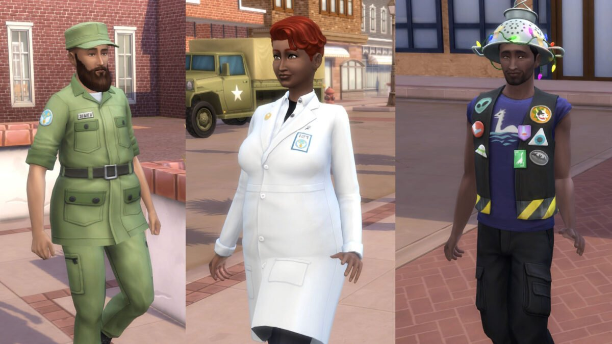 Sims 4 StrangerVille Sim in Militäruniform, Simfrau in weißem Laborkittel, Sim mit Nidelsieb auf Kopf