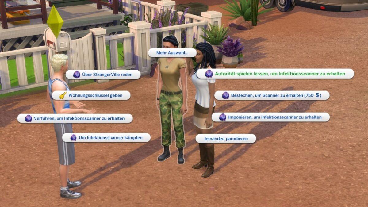 Sims 4 StrangerVille Gesprächsoptionen zum Erhalt einer Schlüsselkarte bei Militärpersonal