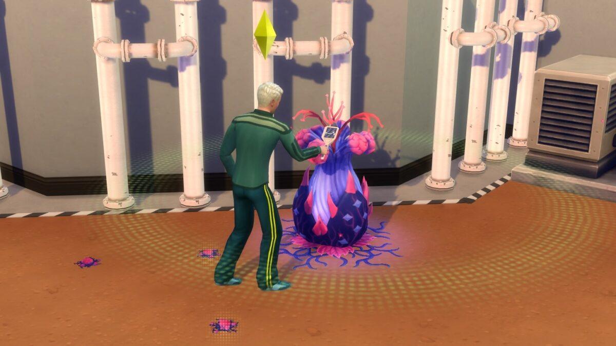 Sims 4 StrangerVille Sim mit Handscanner untersucht Umgebung einer Alienpflanze