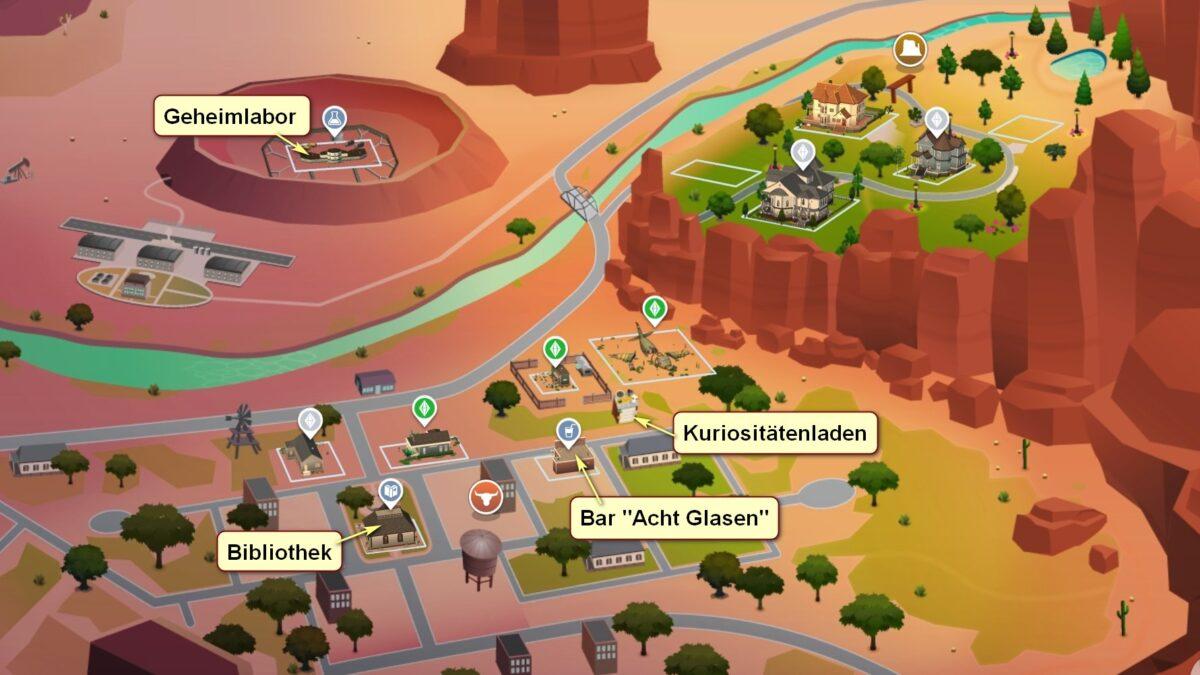 Sims 4 Strangerville Übersichtskarte der StrangerVille-Nachbarschaft mit Beschriftung