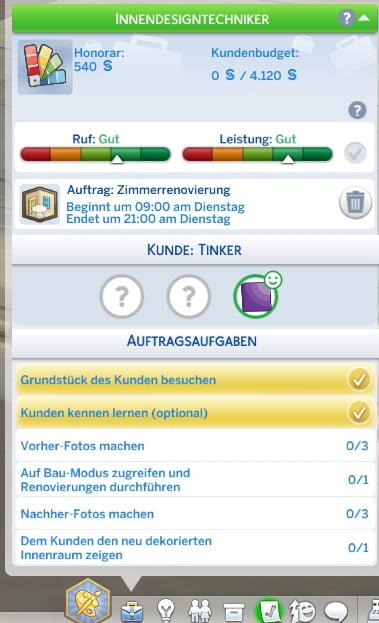 Sims 4 Traumhaftes Innendesign Auftragsübersicht eines Innendekorateurs-Auftrags