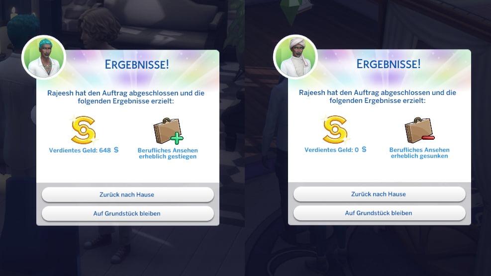 Sims 4 Traumhaftes Innendesign Auftragsboxen für erfolgreichen und nicht erfolgreichen Auftrag