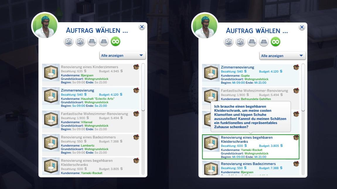 Sims 4 Traumhaftes Innendesign Auftragsübersicht mit mehr Informationen über einen Auftrag