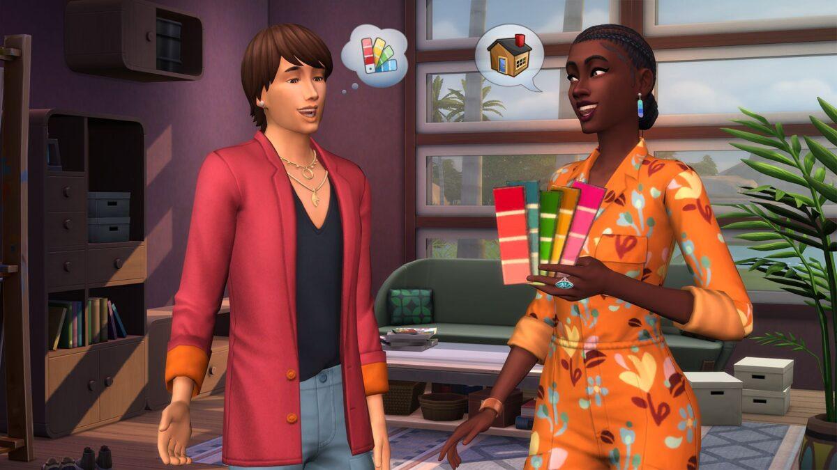Sims 4 Traumhaftes Innendesign Innendesignerin zeigt Kunden Farbtafeln zur Auswahl