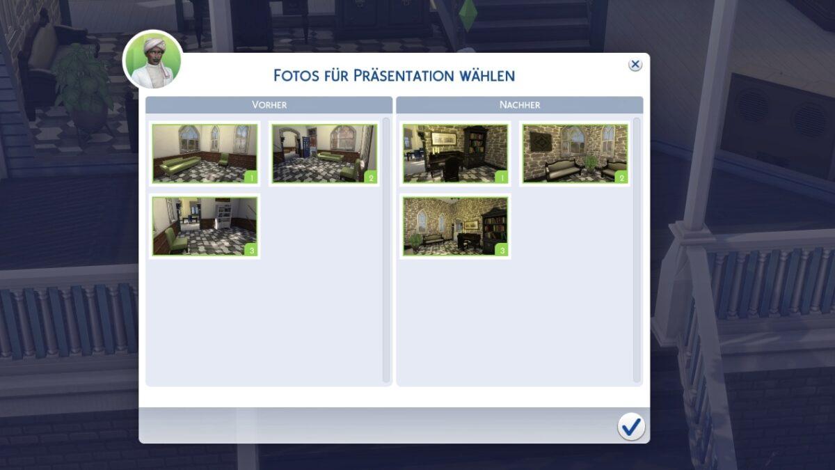 Sims 4 Traumhaftes Innendesign Auswahl von Vorher- und Nachher-Fotos