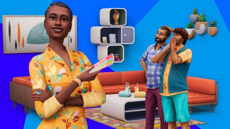 Sims 4 Traumhaftes Innendesign Inneneinrichterin im Vordergrund mit Farbtafel begeistertes Paar betrachtet Möbel im Hintergrund