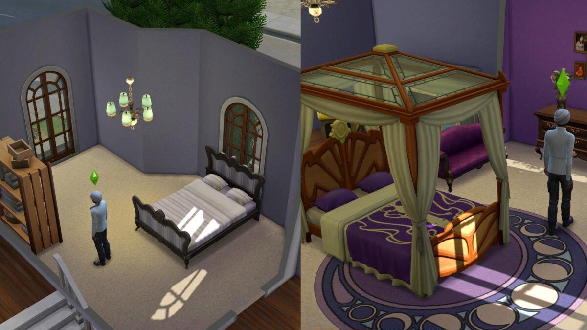 Sims 4 Traumhaftes Innendesign Renoviertes Schlafzimmer vorher und nachher