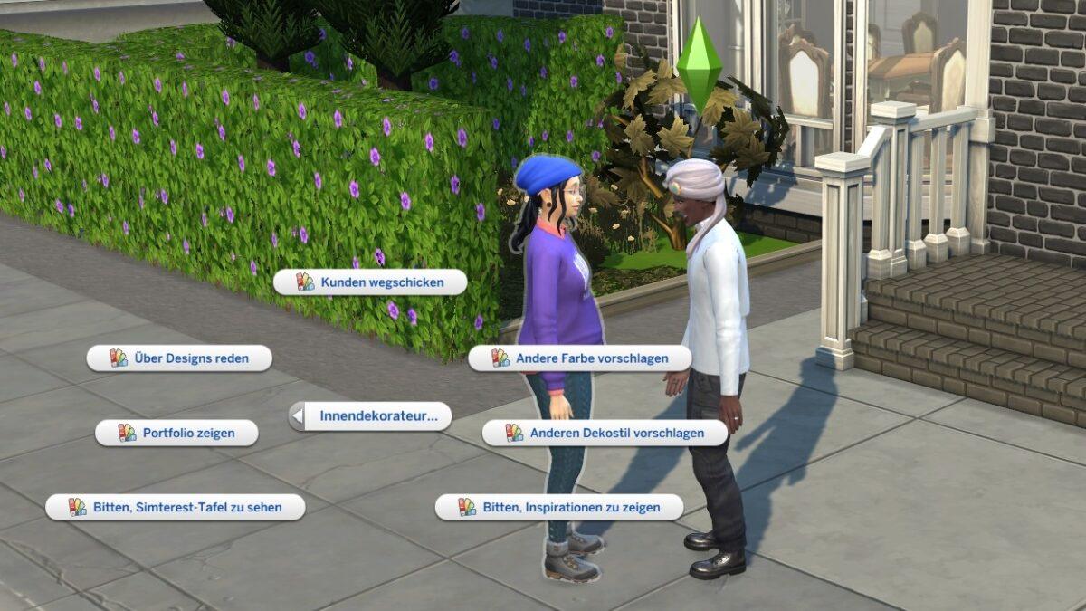 Sims 4 Traumhaftes Innendesign Innendekorateur-Gesprächsoptionen bei Gespräch zwischen Dekorateur und Kunde